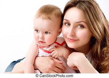 bebê, mother., família, feliz