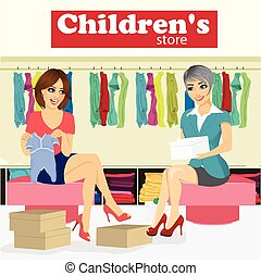 bebê, mulher, ajuda, dela, grávida, assistente, chooses, crianças, namorada, loja, roupas