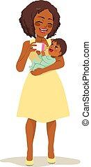 bebê, mulher, alimentação