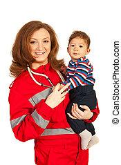 bebê, mulher feliz, doutor