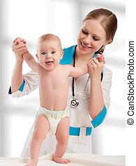 bebê, mulher, pediatra, segurando, doutor