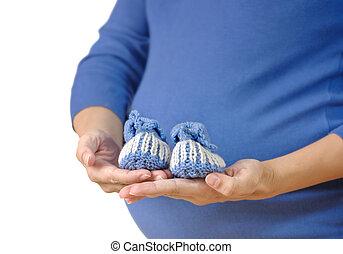 bebê, mulher segura, booties, grávida