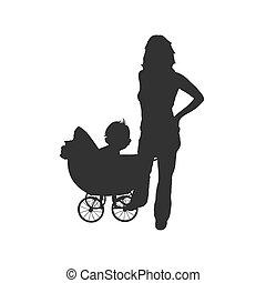bebê, mulher, vetorial