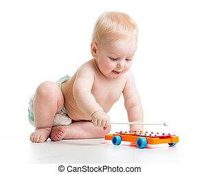 bebê, musical, tocando, brinquedos