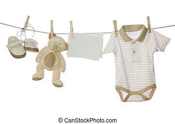 bebê, nota, bens, em branco