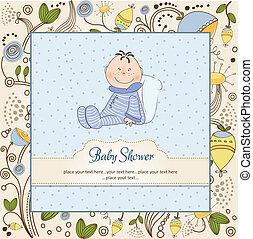 bebê novo, anúncio, cartão