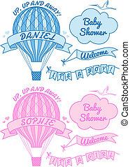 bebê, novo, balloon, ar quente