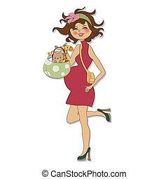 bebê, novo, cartão, anúncio
