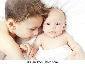 bebê, novo, irmão