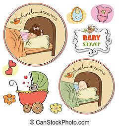 bebê, novo, jogo, itens