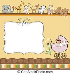 bebê novo, menina, anúncio, cartão