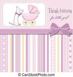 bebê, novo, menina, cartão, anúncio