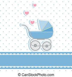 bebê novo, menino, chuveiro, convite, cartão