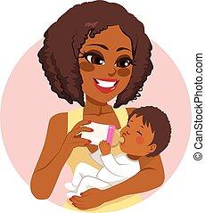 bebê, nutrir, mulher, garrafa leite