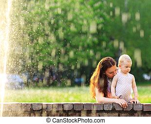 bebê, outdoors., mãe