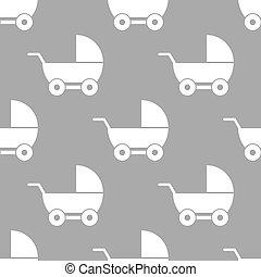 bebê, padrão, carruagem, seamless