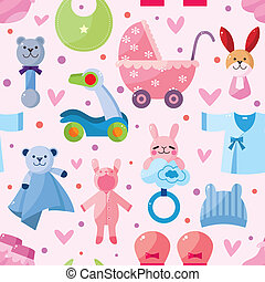 bebê, padrão, seamless