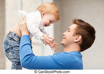 bebê, pai, adorável, feliz
