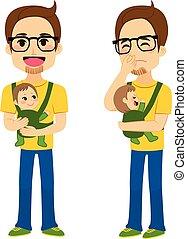 bebê, pai, segurando