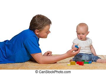 bebê, pai, tocando