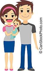 bebê, par, jovem, segurando