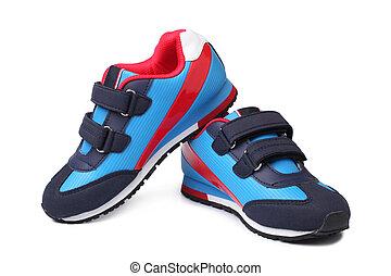 bebê, par, sapatos atletismo