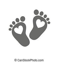 bebê, pegadas, vetorial, -, illustration.