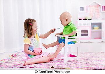 bebê, pequeno, alimentação, menina, irmão