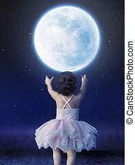 bebê, pequeno, lua, menina, alcançar