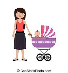 bebê, pequeno, mulher, carruagem, menina