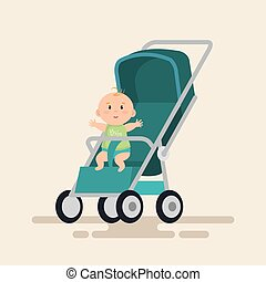 bebê, pequeno, personagem, carreta