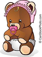 bebê, personagem, caricatura, urso, pelúcia
