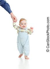 bebê pisa, primeiro, tempo, isolado, tiro estúdio