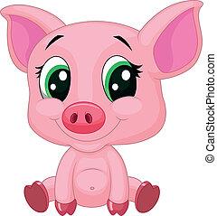 bebê, porca, caricatura, cute