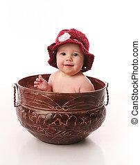 bebê, pote, menina flor, sentando