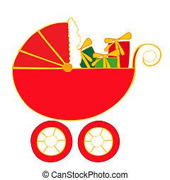 bebê, presen, carruagem, natal