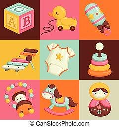 bebê, quadrado, brinquedos