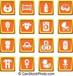 bebê, quadrado, jogo, ícones, nascido, vetorial, laranja