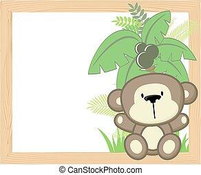 bebê, quadro, macaco