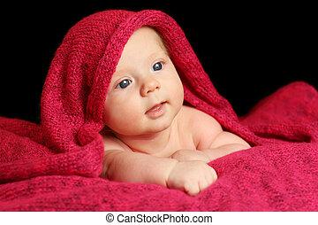bebê recém-nascido, cobertor, vermelho