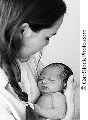 bebê recém-nascido, dela, mãe