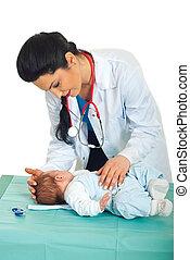 bebê recém-nascido, examine, doutor