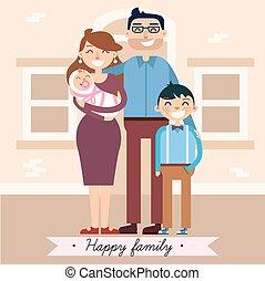 bebê recém-nascido, família, feliz