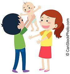 bebê recém-nascido, família