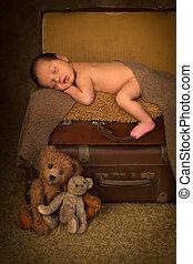 bebê recém-nascido, mala