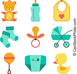 bebê recém-nascido, material, ícones, set.
