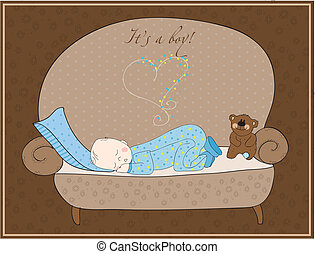 bebê recém-nascido, menino, cartão, dormir