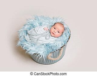 bebê recém-nascido, mentindo, ligado, cesta, vista superior