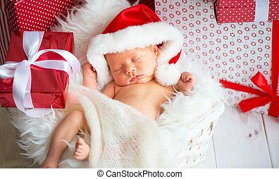 bebê recém-nascido, santa, boné, natal, dormente