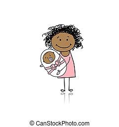 bebê recém-nascido, sorrir feliz, mãe